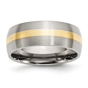 Stainless Steel & 14K Gold Inlay, 8mm Satin Unisex Band - The Black Bow Jewelry Co.