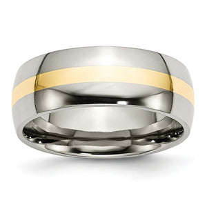 Stainless Steel & 14K Gold Inlay, 8mm Polished Unisex Comfort Fit Band - The Black Bow Jewelry Co.