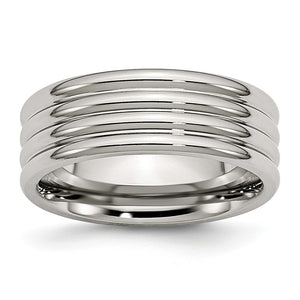 Stainless Steel, 8mm Multi Grooved Unisex Comfort Fit Band - The Black Bow Jewelry Co.