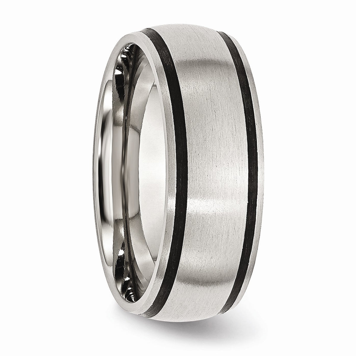 Alternate view of the Stainless Steel & Black Rubber, 8mm Satin Standard Fit Band by The Black Bow Jewelry Co.