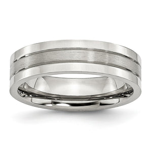 Stainless Steel, 6mm Flat Grooved Unisex Comfort Fit Band - The Black Bow Jewelry Co.