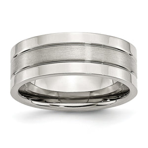 Stainless Steel, 8mm Flat Grooved Unisex Comfort Fit Band - The Black Bow Jewelry Co.