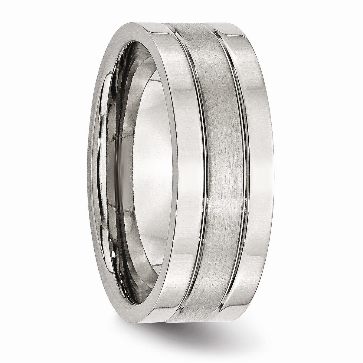 Alternate view of the Stainless Steel, 8mm Flat Grooved Unisex Comfort Fit Band by The Black Bow Jewelry Co.