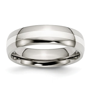 Stainless Steel & Sterling Silver Inlay, 6mm Unisex Comfort Fit Band - The Black Bow Jewelry Co.