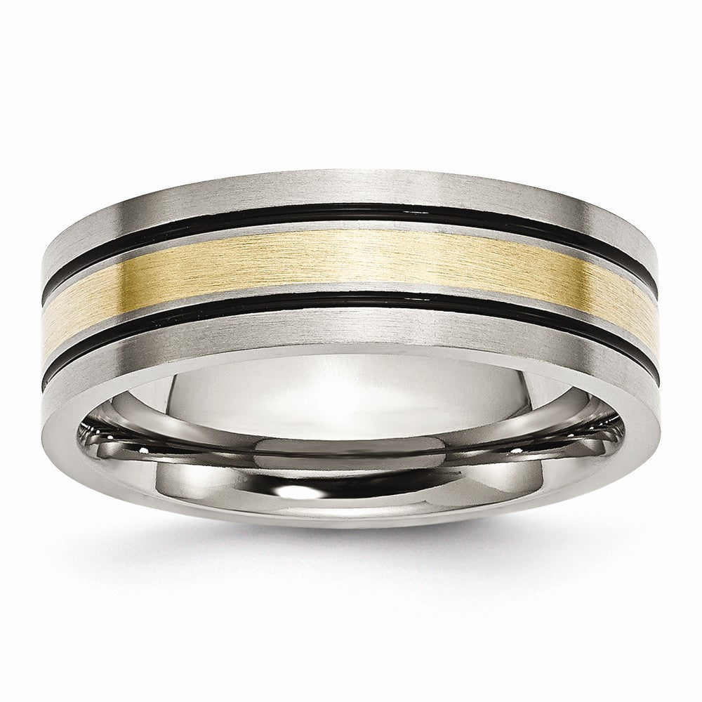 Titanium & 14K Gold Inlay, 7mm Flat Brushed & Antiqued Band - The Black Bow Jewelry Co.