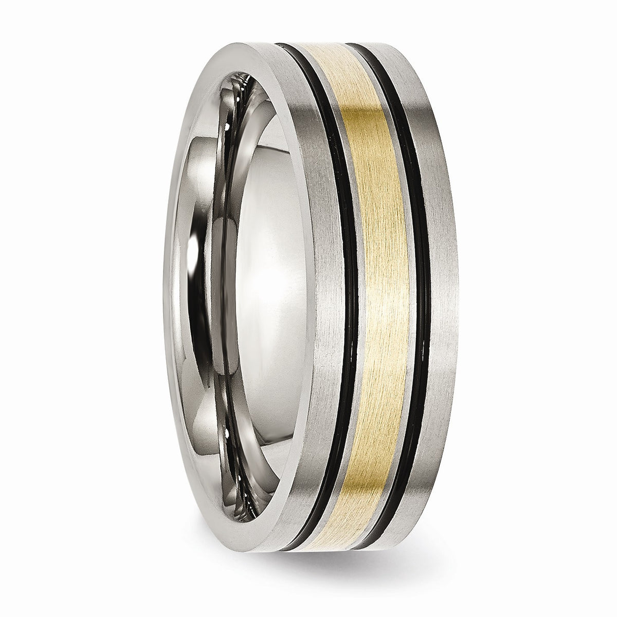 Alternate view of the Titanium & 14K Gold Inlay, 7mm Flat Brushed & Antiqued Band by The Black Bow Jewelry Co.