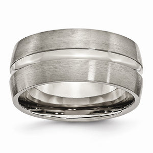 Titanium, 10mm Center Grooved Band - The Black Bow Jewelry Co.