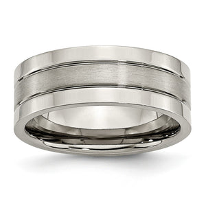 Titanium, 8mm Dual Finish Flat Unisex Comfort Fit Band - The Black Bow Jewelry Co.