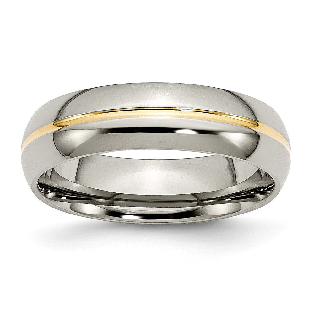 Titanium and Gold Tone, 6mm Grooved Unisex Comfort Fit Band - The Black Bow Jewelry Co.