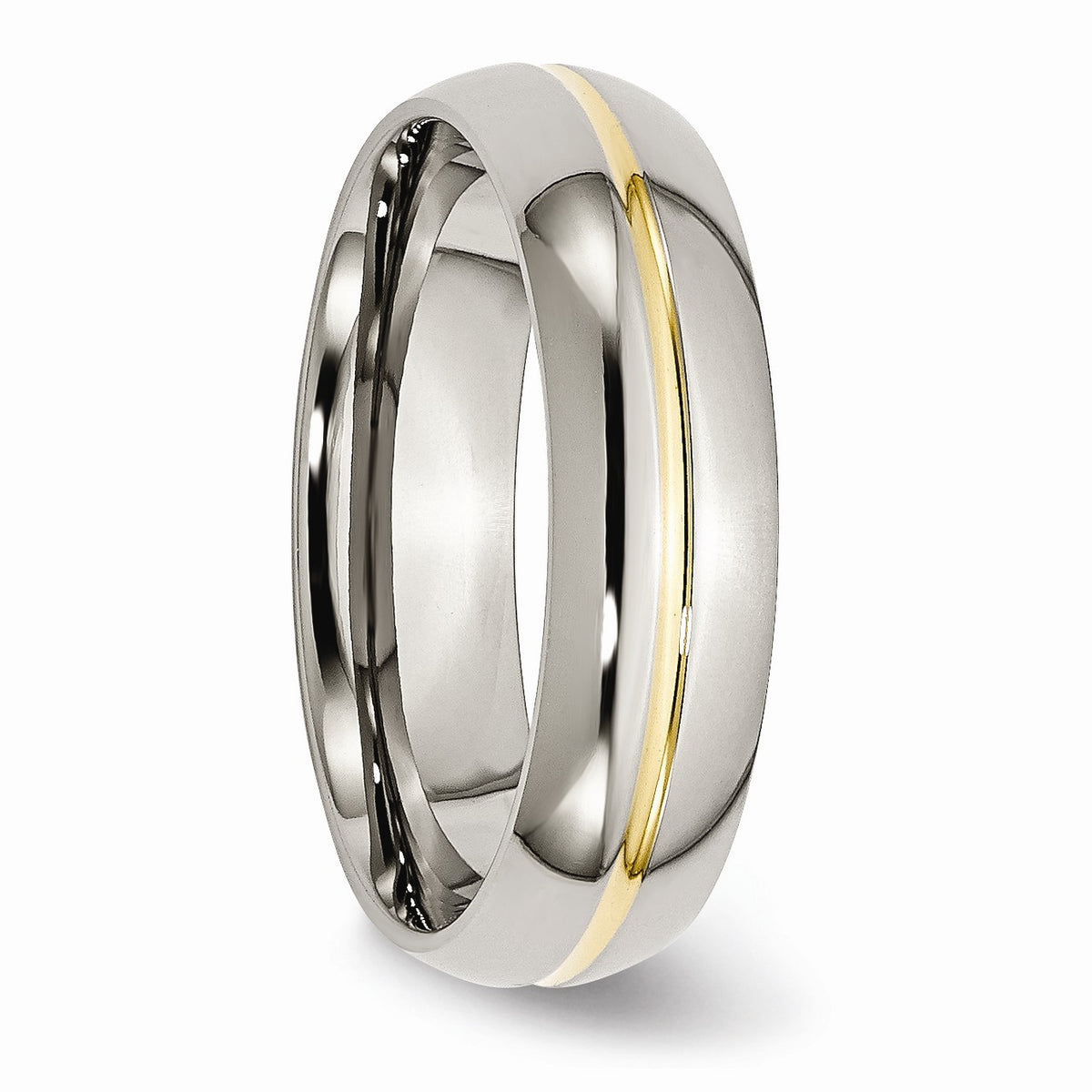 Alternate view of the Titanium and Gold Tone, 6mm Grooved Unisex Comfort Fit Band by The Black Bow Jewelry Co.