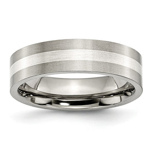 Titanium & Sterling Silver Inlay, 6mm Satin Flat Comfort Fit Band - The Black Bow Jewelry Co.