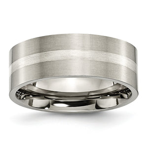 Titanium & Sterling Silver Inlay, 8mm Satin Flat Comfort Fit Band - The Black Bow Jewelry Co.