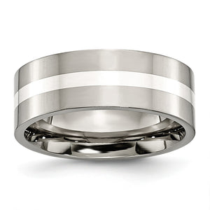 Titanium & Sterling Silver Inlay, 8mm Polished Flat Comfort Fit Band - The Black Bow Jewelry Co.