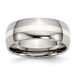 Titanium & Sterling Silver Inlay, 8mm Polished Domed Comfort Fit Band - The Black Bow Jewelry Co.