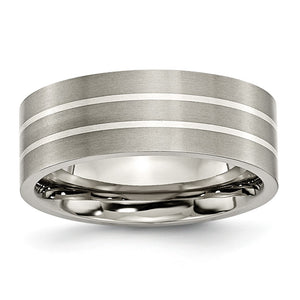 Titanium & Sterling Silver Inlay, 8mm Flat Brushed Comfort Fit Band - The Black Bow Jewelry Co.