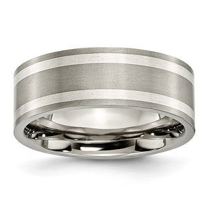 Titanium and Sterling Silver Inlay, 8mm Flat Unisex Comfort Fit Band - The Black Bow Jewelry Co.