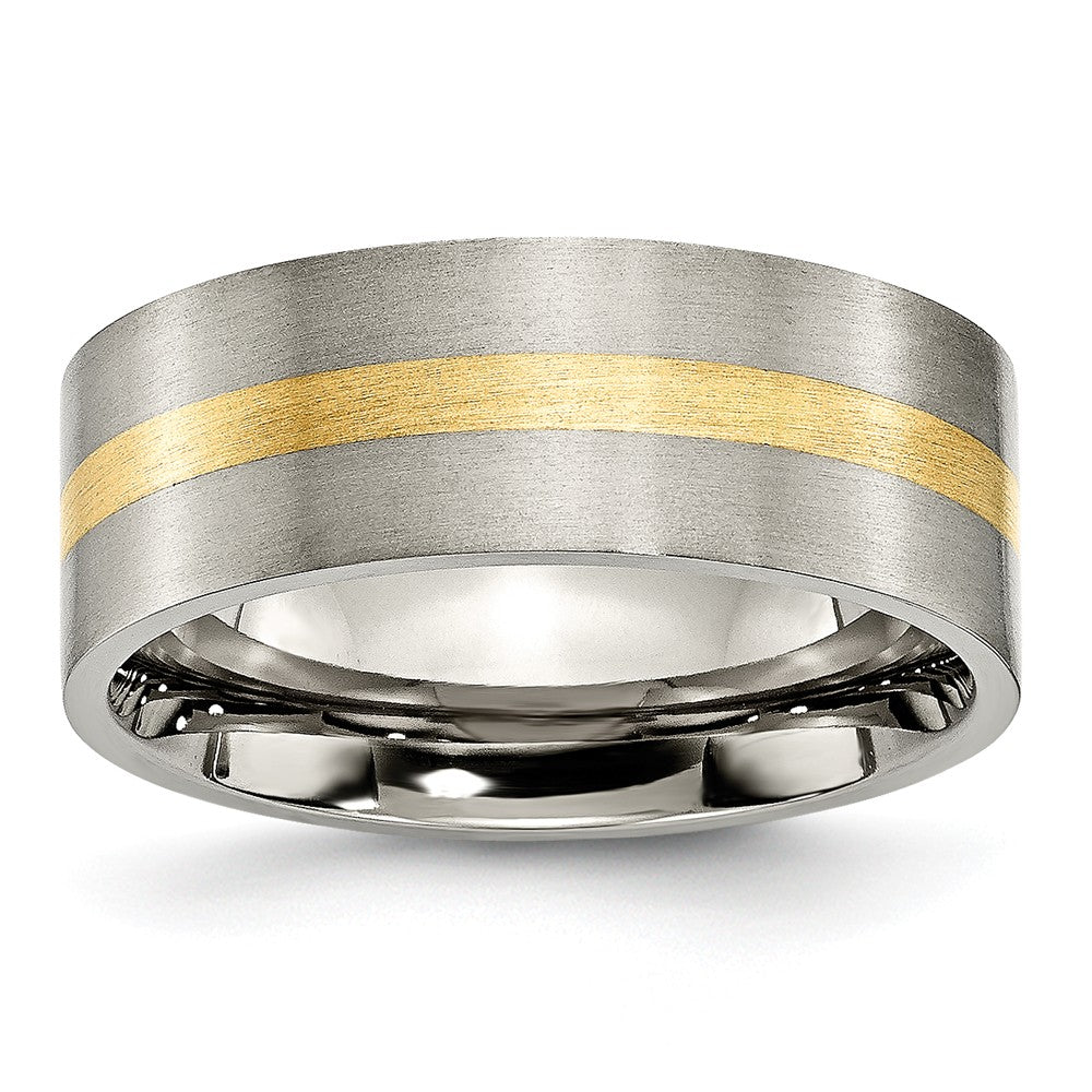 Titanium and 14K Gold, 8mm Flat Unisex Satin Finish Comfort Fit Band - The Black Bow Jewelry Co.