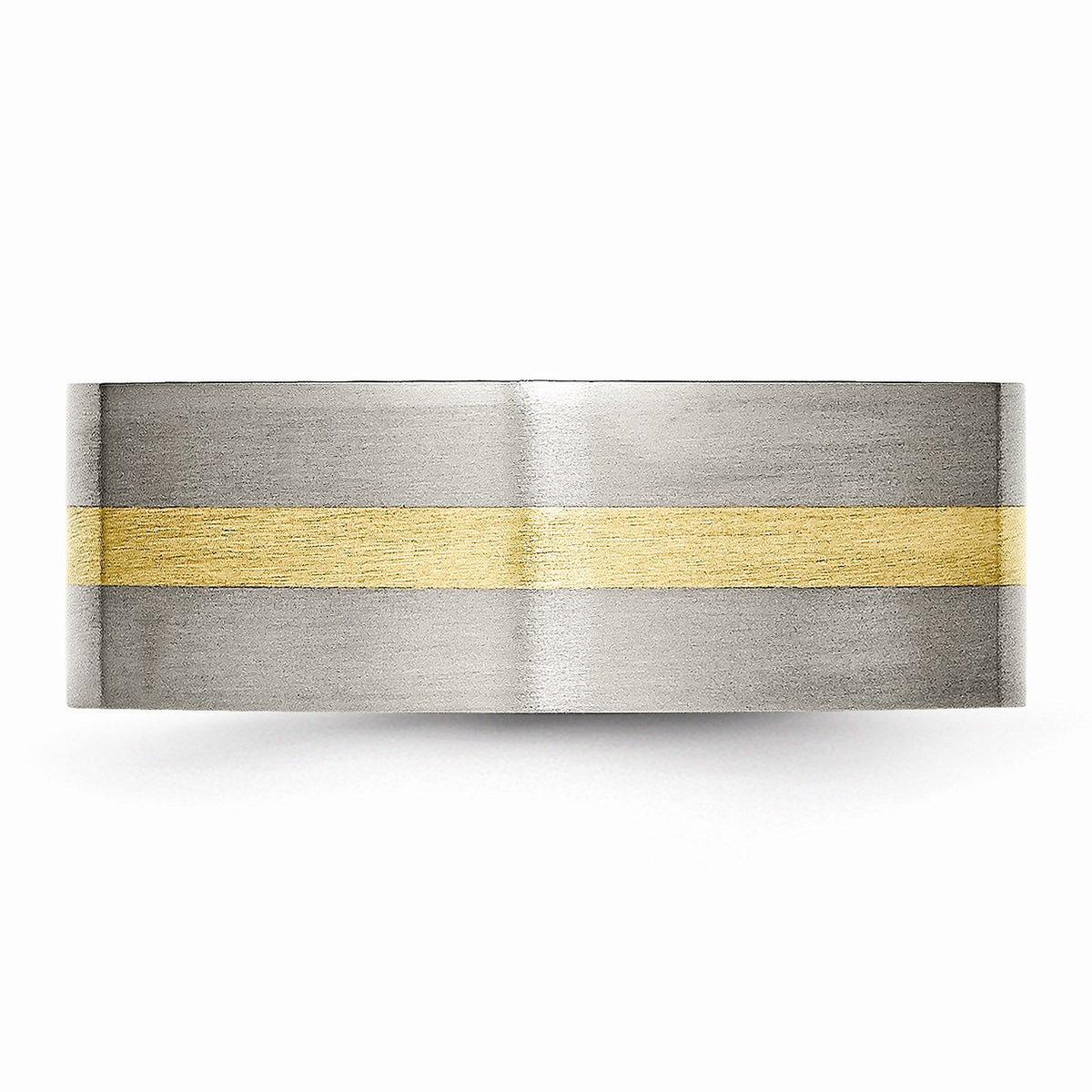 Alternate view of the Titanium and 14K Gold, 8mm Flat Unisex Satin Finish Comfort Fit Band by The Black Bow Jewelry Co.