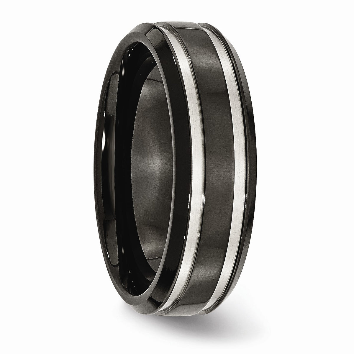 Alternate view of the Black-Plated Titanium, 7mm Grooved Unisex Comfort Fit Band by The Black Bow Jewelry Co.
