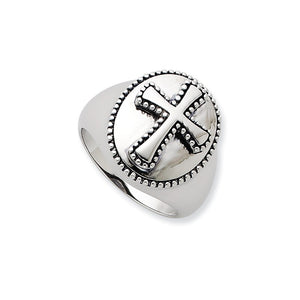 Boldness, Milgrain Cross Ring in Silver - The Black Bow Jewelry Co.