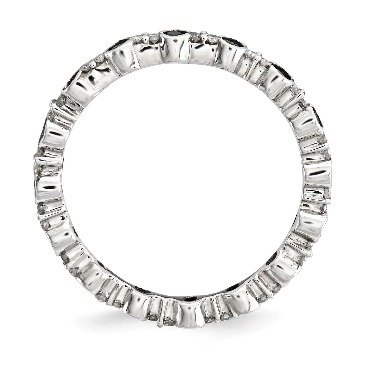 Alternate view of the 2.25mm Stackable Two-tone 3/8 Ctw I3 Diamond Silver Band by The Black Bow Jewelry Co.