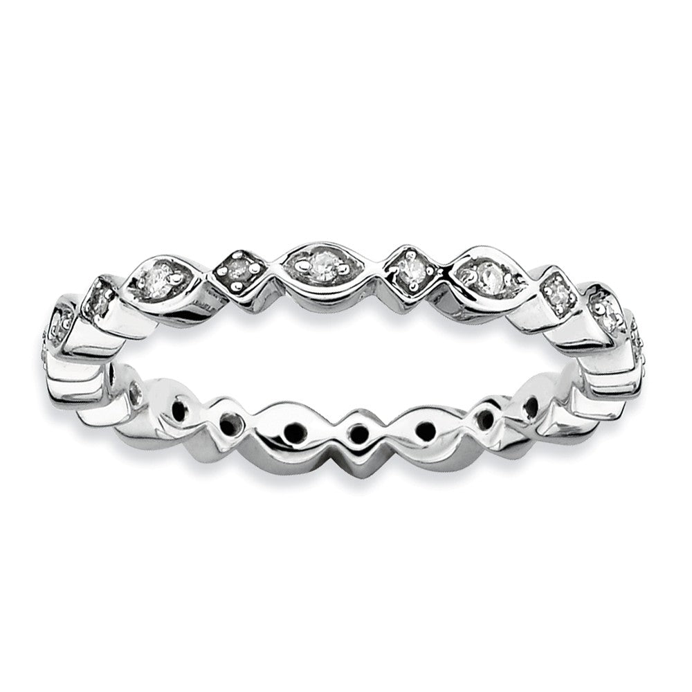 2.75mm Sterling Silver Stackable 1/10 Ctw HI/I3 Diamond Band - The Black Bow Jewelry Co.