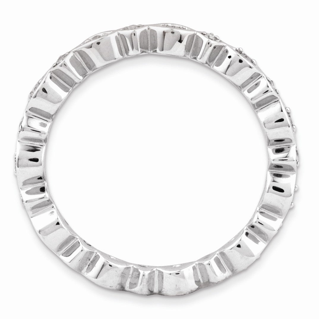 Alternate view of the 2.75mm Sterling Silver Stackable 1/10 Ctw HI/I3 Diamond Band by The Black Bow Jewelry Co.