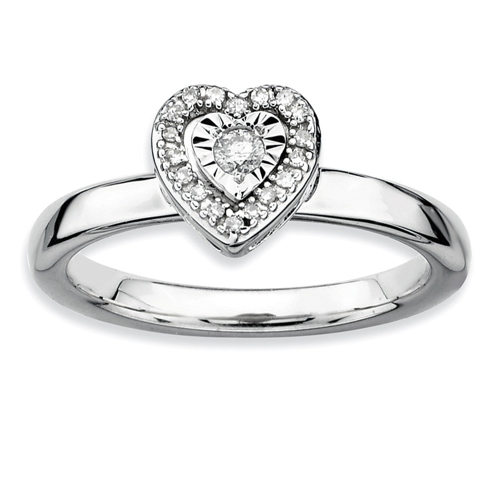 Sterling Silver Stackable 1/8 Cttw HI/I3 Diamond 7mm Heart Ring - The Black Bow Jewelry Co.