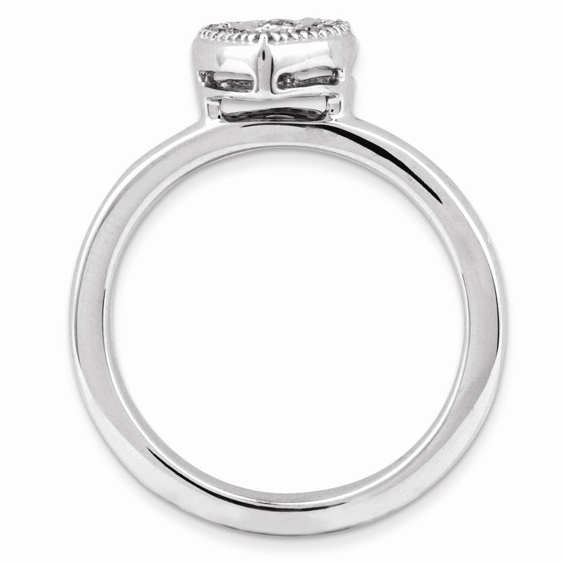 Alternate view of the Sterling Silver Stackable 1/8 Cttw HI/I3 Diamond 7mm Heart Ring by The Black Bow Jewelry Co.