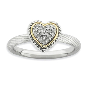 Sterling Silver, 14k Yellow Gold Plated & Diamond 9mm Heart Stack Ring - The Black Bow Jewelry Co.