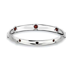 2.25mm Sterling Silver and Garnet Accent Stackable Band - The Black Bow Jewelry Co.