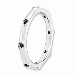 2.25mm Sterling Silver and Garnet Accent Stackable Band