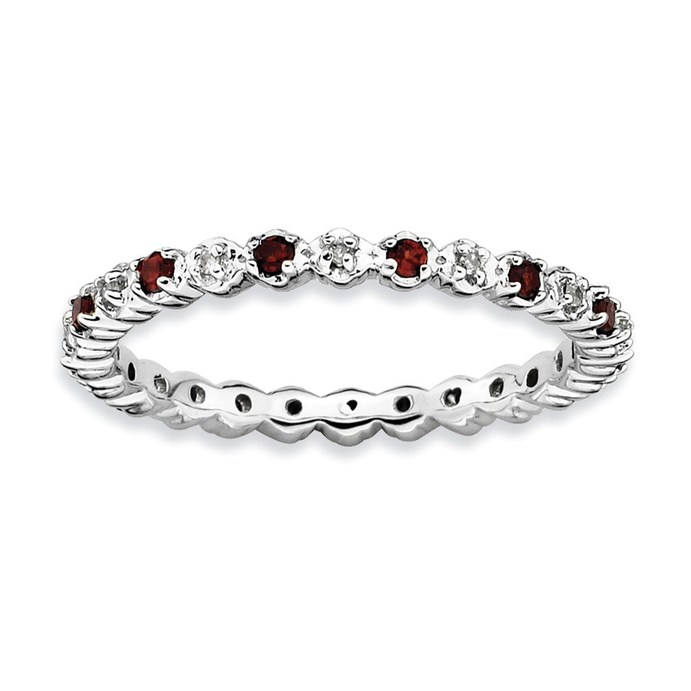 2.25mm Sterling Silver, Garnet & .04 Ctw Diamond Stackable Band - The Black Bow Jewelry Co.