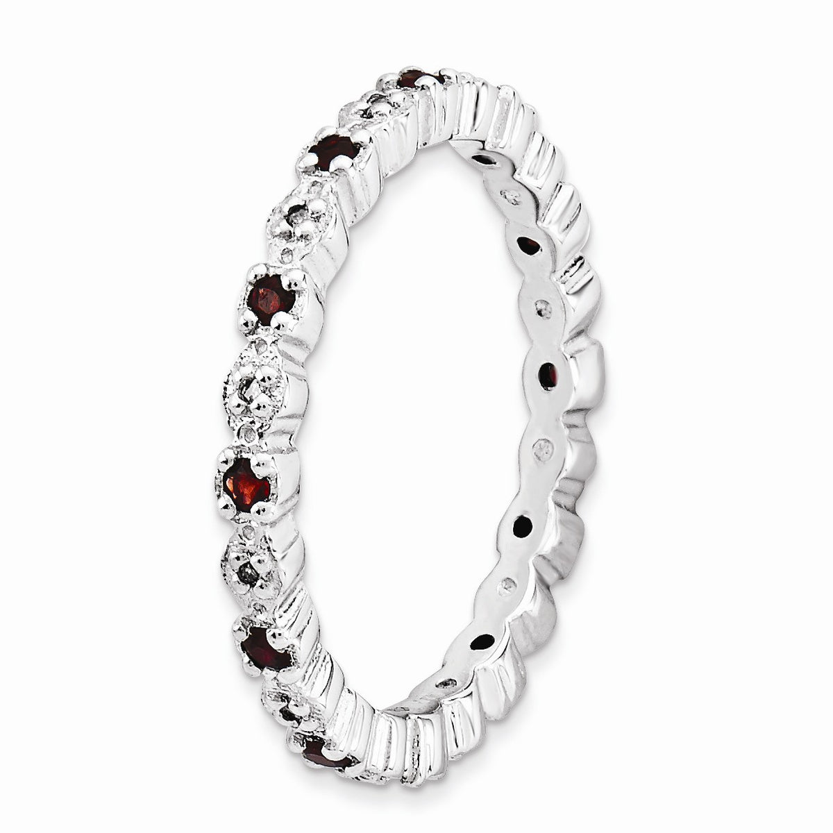 Alternate view of the 2.25mm Sterling Silver, Garnet & .04 Ctw Diamond Stackable Band by The Black Bow Jewelry Co.