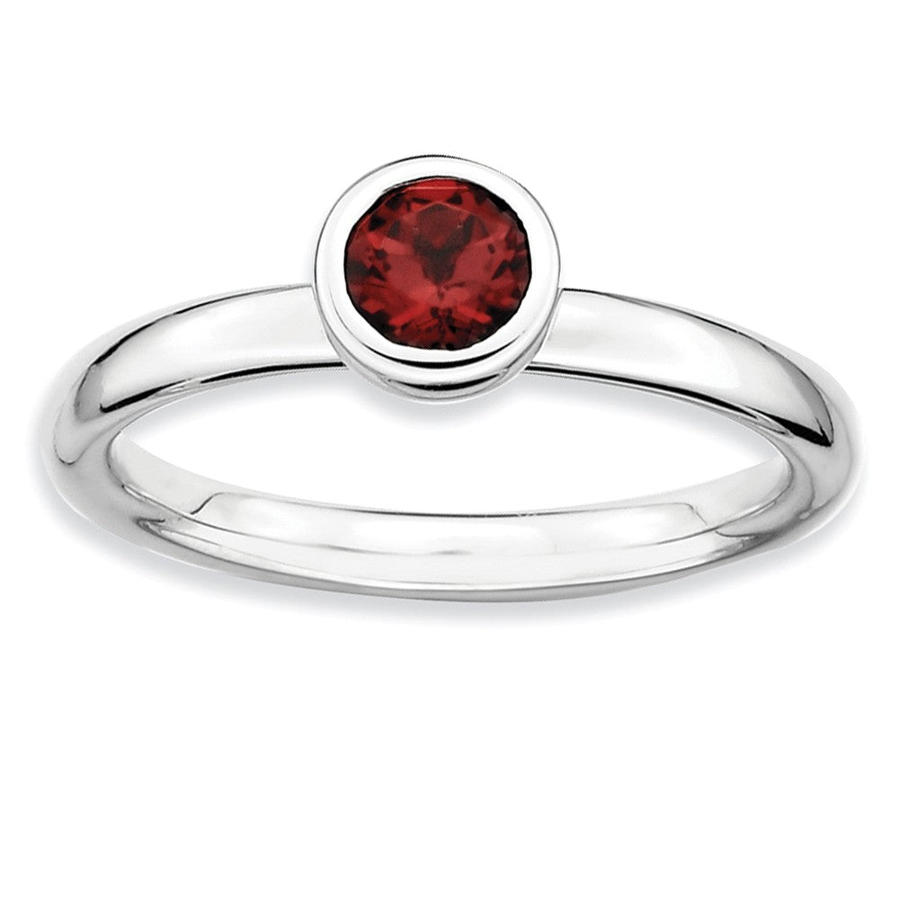 Sterling Silver & Garnet Stackable Low Profile 5mm Solitaire Ring - The Black Bow Jewelry Co.