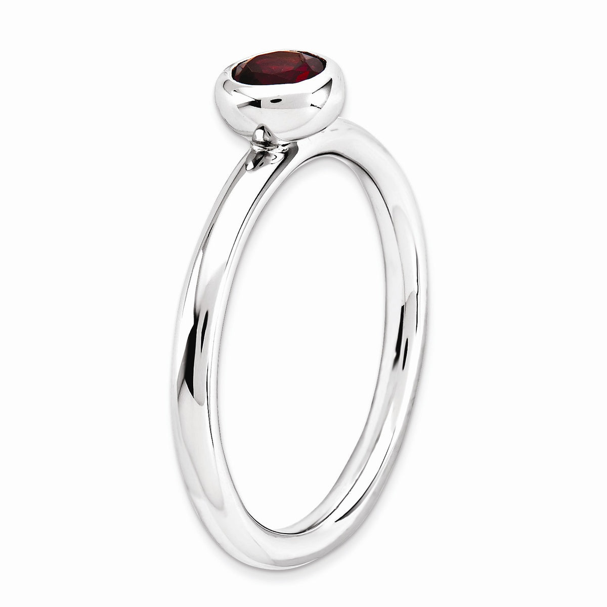 Alternate view of the Sterling Silver & Garnet Stackable Low Profile 5mm Solitaire Ring by The Black Bow Jewelry Co.