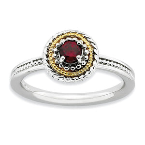 Sterling Silver14k Yellow Gold PlateGarnet Stackable 9mm Round Ring - The Black Bow Jewelry Co.