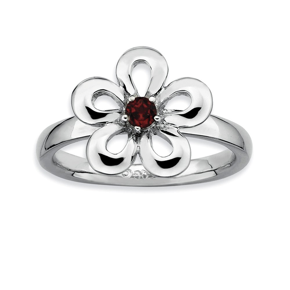 Sterling Silver Stackable Garnet Petal Flower Ring - The Black Bow Jewelry Co.