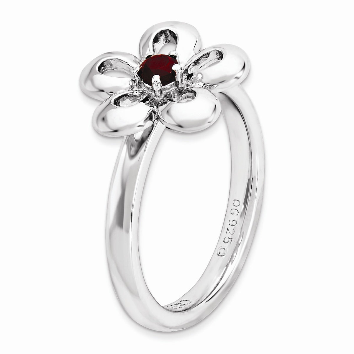 Alternate view of the Sterling Silver Stackable Garnet Petal Flower Ring by The Black Bow Jewelry Co.