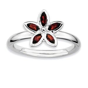 Sterling Silver Stackable Marquise Garnet Flower Ring - The Black Bow Jewelry Co.