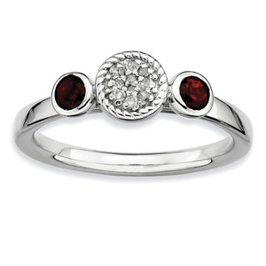 Sterling Silver Stackable Garnet and Diamond Ring - The Black Bow Jewelry Co.