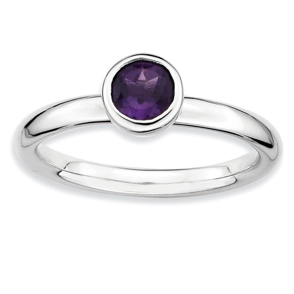 Rhodium Plated Sterling Silver Low Profile 5mm Amethyst Stack Ring - The Black Bow Jewelry Co.