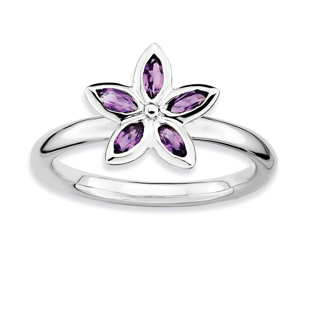 Sterling Silver & Amethyst Stackable 5 Marquise Stone Flower Ring - The Black Bow Jewelry Co.