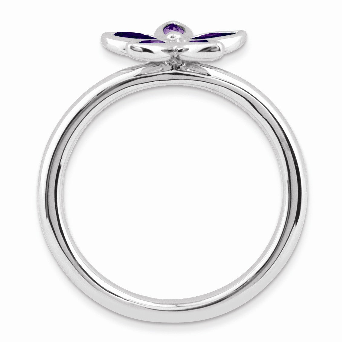 Alternate view of the Sterling Silver & Amethyst Stackable 5 Marquise Stone Flower Ring by The Black Bow Jewelry Co.