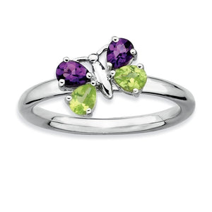 Sterling Silver Peridot and Amethyst Stackable Gemstone Butterfly Ring - The Black Bow Jewelry Co.