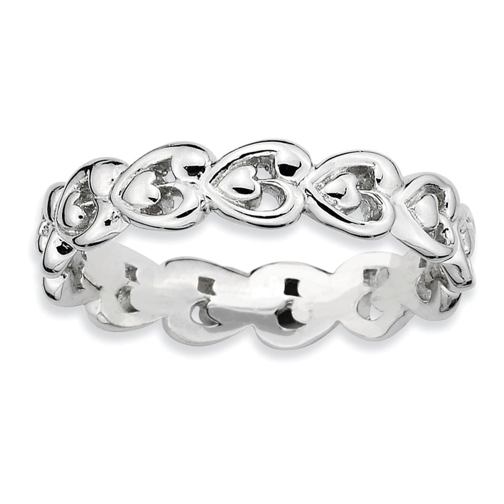 Rhodium Plated Sterling Silver Stackable 4.5mm Heart Band - The Black Bow Jewelry Co.
