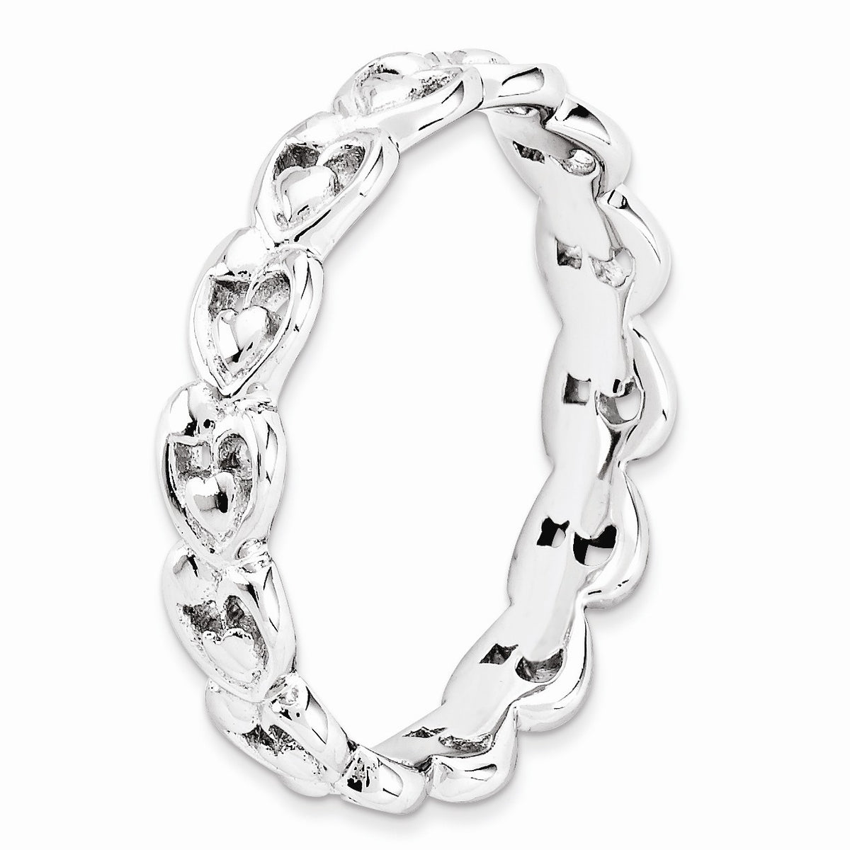 Alternate view of the Rhodium Plated Sterling Silver Stackable 4.5mm Heart Band by The Black Bow Jewelry Co.