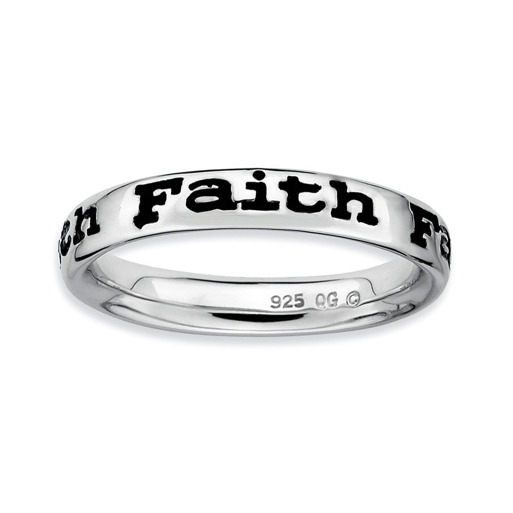 Sterling Silver and Black Enameled Stackable Faith Band - The Black Bow Jewelry Co.