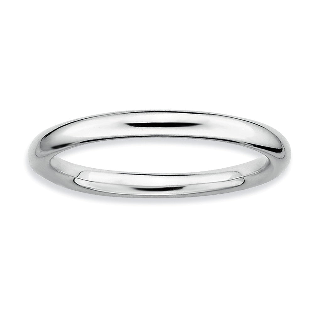 2.25mm Rhodium Plated Sterling Silver Stackable Polished Band - The Black Bow Jewelry Co.