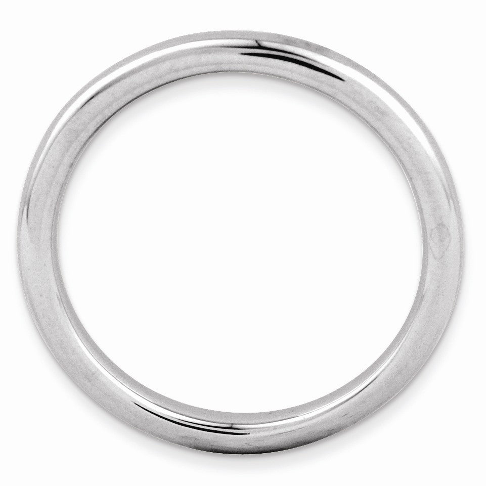 Alternate view of the 2.25mm Rhodium Plated Sterling Silver Stackable Polished Band by The Black Bow Jewelry Co.
